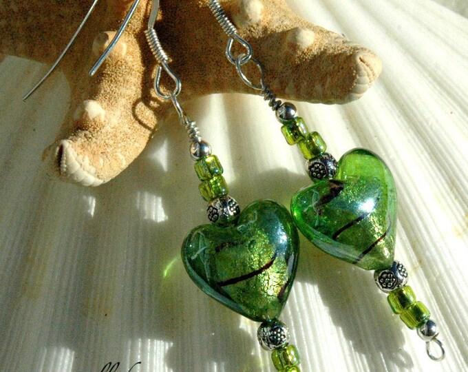 Green Lampwork Heart & Silver Earrings