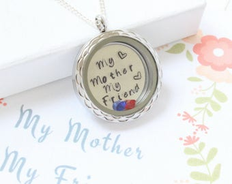 Birthstone Necklace Mom from Daughter, Mother Son Necklace, Mom Jewelry Mother and Daughter Necklace, Mom from Son, Mother Son Jewelry