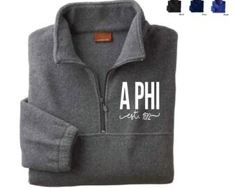 Alpha Phi // A Phi // Sorority Embroidered Fleece Quarter Zip Jacket (Shorelines) // Pullover
