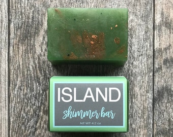 Island Shimmer Soap, Beach Soap, Gold, Glycerin Soap, Nautical Soap, Seaside Soap, Shimmer, Beach, Island, Resort, Palm Tree