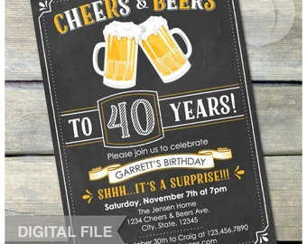 "Surprise 40th Birthday Invitation Cheers & Beers Invite Chalkboard Birthday Party Men Women - 5"" x 7"" Digital Invite"
