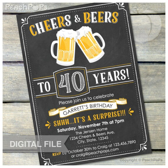 Surprise 40th birthday invitation cheers beers invite surprise 40th birthday invitation cheers beers invite chalkboard birthday party men women 5 x 7 digital invite filmwisefo Image collections