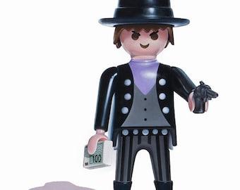 Toy Art Print, Playmobil Bank Robber, Boys Wall Art, Kids Room Decor, Playmobil Print, Art Prints for Kids, Boys Room Decor, 5x7 Art Print