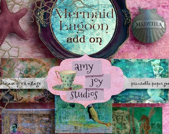 Junk Journal Kit  Add On  Mermaid Journal  Printable Journal Papers  Digital Journal Kit  smashbook  vintage journal  mermaid  ocean