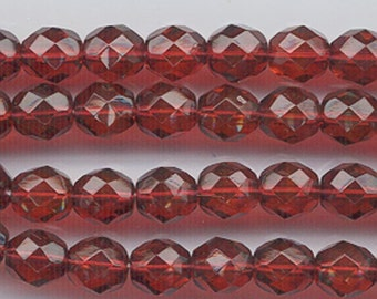 One 16-inch strand (about 50 beads) 8 mm dark slightly brownish red glass firepolished beads 511