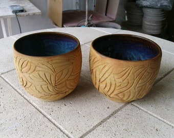 Bowl mug Cup Japanese style green sandstone and raw Earth