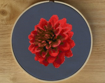 Modern Flower Cross Stitch Pattern, Modern Flower Diy Cross Stitch Pattern, Red Cross Stitch Pattern, Red Flower Cross Stitch Pattern