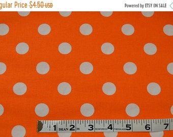 On Sale Item 290, 100% Cotton, Orange and White Polka Dot, By the Yard