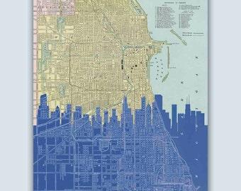 Chicago Skyline, Chicago Print, Chicago Wall Art, Chicago Map, Personalized Skyline Print, Wedding Gift, Chicago Art Print, Chicago Illinois