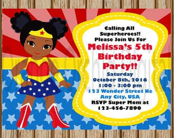 "African American Wonder Woman Birthday Invitations- African American Girls Superhero Birthday Party- 5"" x 7"" size- Digital Item"