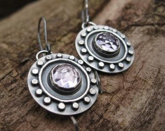 oxidized sterling silver earrings with faceted pink amethyst . ((Antique Coin Earrings)) . one of a kind . READY TO SHIP
