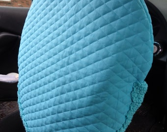 Turquoise Blue Quilted Steering Wheel Cover, Gift for Mom, Present for Grad, Steering Wheel Protector, Keep Cooler Cover, Removable