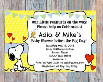 Snoopy baby shower printable invite DIY
