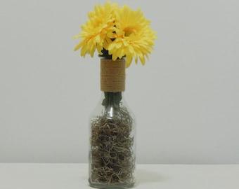 Silk Flowers, Accent Decor, Rustic Arrangement, Yellow Daisies, Bud Vase, Accent Decor, Silk Daisies, Vase with Burlap, Yellow Flowers