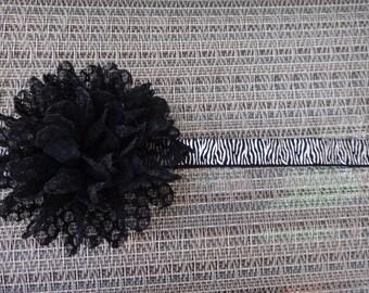 black lace flower headband, newborn, infant, toddler, photo prop, glitter, elastic, lace headband, MORE ELASTIC OPTIONS!