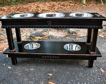 Two Tier Feeder, 5 bowls, Elevated Dog Bowl Feeder, Two Dogs, Rustic Black, 2 Two Qt Bowls 1 Three Qt Bowl, 2 One Quart bowls, Made to Order