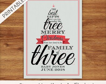 Typographic Red Christmas Tree Pregnancy Announcement - Holiday Card - Christmas Card - New Baby - Printable