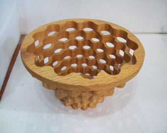 Wooden Open Air Fruit Bowl, Decorative Bowl, Free Shipping, Hand Made E10