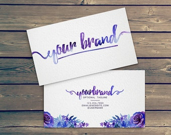 Watercolor Business Card Template - watercolor floral cursive design front and back elegant business cards