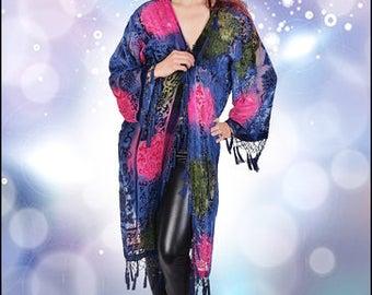 Art Deco Noveaux Blue Victorian Roses Kimono Gypsy Boho Duster