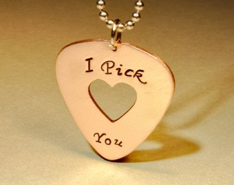 Copper I pick you guitar pick necklace with heart cut out - NL249
