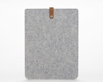 Felt Laptop Cover - New MacBook Pro 15 Sleeve – Grey Felt Case – Leather and Felt Cover – Laptop Protection – New MacBook Pro 15 Inches Case