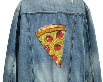 Pizza - Collection paillettes - autocollant et correctif - Choisissez votre taille (P191)