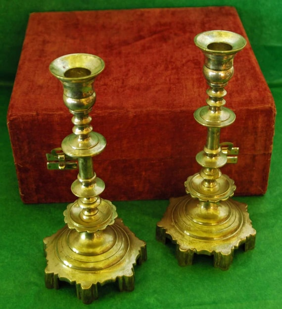 "Reduced: Vintage RUSSIAN BRONZE CANDLESTICKS Pair 19th C Czarist Era, Heavy No Sign 8 3/8"" T Ca 1890-1910 Original Box Exc Condition"