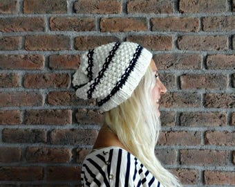 Sale Tam Hats White Winter Beanie Slouchy Knit Beanie Slouchy Hat Striped Knit Hats Nautical Slouchy Beanie Mens Knit Hat Womens Knit Hat Gi
