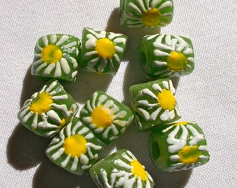 Green/White/Yellow African Recycled Powdered Glass Krobo Beads Pack of 5  Size 7mm approx- Fair Trade Ghana