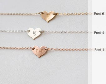 Valentines Necklace, Personalized Heart Necklace, Gold fill, Silver Heart Necklace, engraved Necklace, Initial Necklace • NHH10x81