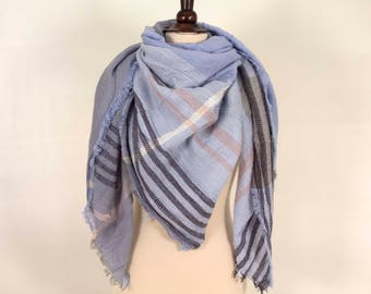 Light Blue Blanket Scarf, For her, For him, Plaid Scarf, Plaid Blanket Scarf, Soft large Scarf, Warm Scarf, Winter Scarf, Soft Scarf