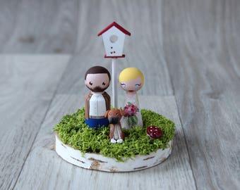 Cake topper with dog: Barn wedding cake topper - Garden wedding cake topper - Custom cake topper - Funny cake topper - Custom pet figurine