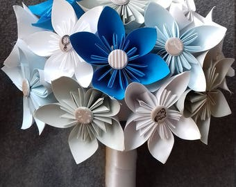 Bridal bouquet, alternative wedding Bouquets, Bouquet of Origami Wedding Bouquet, paper flowers, wedding flowers, Bouquet
