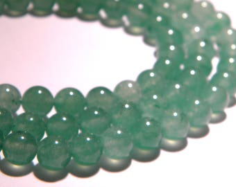 20 beads natural 8 mm jade - green translucent - gem stone - PG110