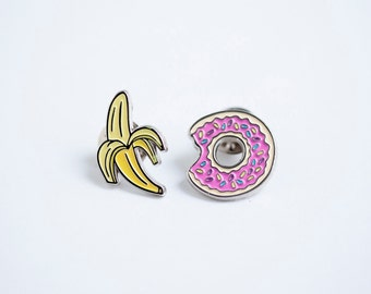 Donut and banana enamel pin - lapel pin - enamel pin - donut and banana lapel pin - badge - lapel metal donut pin - pink donut pin - broch
