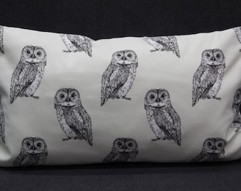 Pillow Case/upholstery with owls, cream, 50 x 30 cm