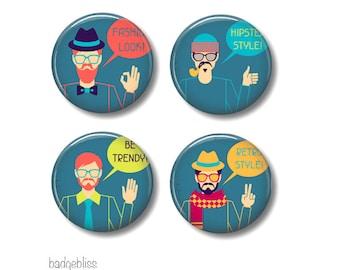 Hipster Pinback button badges or fridge magnets , fridge magnet set