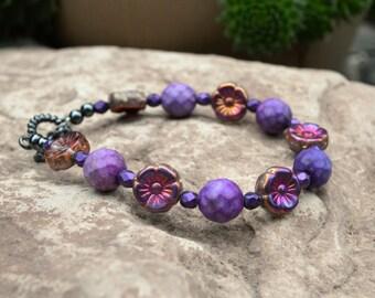 Purple Jasper and Flower Bracelet, Handmade Jewelry, Gift Ideas for Her from The Hidden Meadow