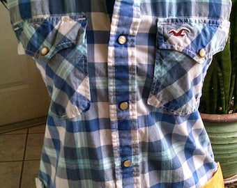 Shirt apron/ blue and white plaid Hollister