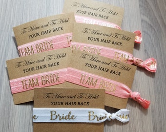 Pink Team Bride Bridal Set | To Have ad To Hold Your Hair Back Hair Tie Favors | Bachelorette Party Favors | Bachelorette Hair Ties