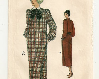 """A Front Button, Long Sleeve, Collared, Loose Fitting Straight Dress Fashion Sewing Pattern for Women: Size 12, Bust 34"""" • Vogue 7264"""
