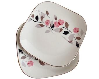 Set of Two Japanese Mid Century Modern Plates with Floral Pattern. Vintage Japanese Ceramics. Roses. Vines. Decorative Plates. Porcelain.