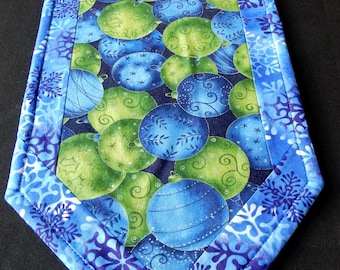 Blue and green Christmas ornaments table runner - reversible for autumn
