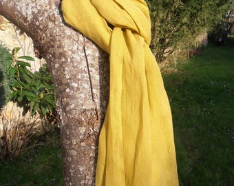 SCARF scarf CHEICH 100% linen Yellow Curry mustard saffron 200 X 60 cm