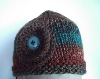 Knit Hat with Snowflower