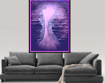 Abstract Love, Wall Art, Canvas Art, Abstract Art Print,Purple Wall Art, Prints On Canvas,Figuer Print, Figurative art, Bedroom Wall Art