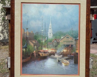 G. Harvey New England Harbor Signed Limited Edition Print 393/550 35x28