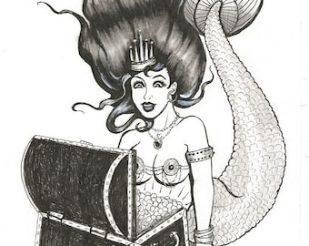 Original art Ink drawing - Golden Mermaid