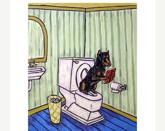 25% off Doberman Pinscher in the Bathroom Dog Art Print